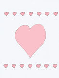 Hearts. Large Single heart in the middle of the page with rows of small hearts below and above Stock Images
