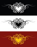 Hearts. Vector hearts with swirl ornament Royalty Free Stock Photo