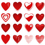 Hearts. 16 red and white hearts, clip art vector illustration