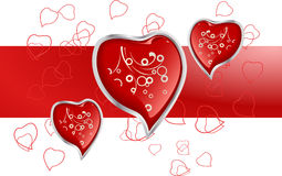 Hearts. Valentines Day card easy to resize or change color Royalty Free Stock Images