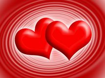 Hearts. Two red hearts for Valentine's day Royalty Free Stock Images