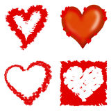 Hearts. Four hearts drawn in different ways Royalty Free Stock Photography