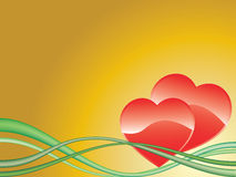 Hearts. Vector image of two red hearts on yellow Royalty Free Stock Photo