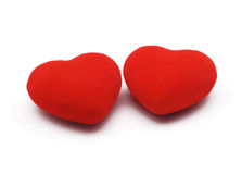 Hearts. Two hearts isolated over white background Royalty Free Stock Photography