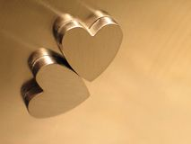 Hearts. Magnetic hearts in silver steel Royalty Free Stock Image