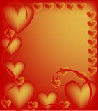 Hearts. Frame, border or backdrop with red and gold hearts and ribbons Stock Photo