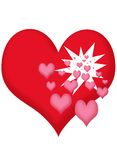 Hearts. Small hearts exploding from a big heart Royalty Free Stock Photos