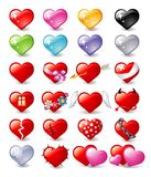 Hearts. Vector illustrations of hearts representing different feelings Stock Images