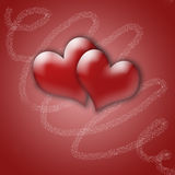Hearts. Illustration of 2 hearts in red backgraund Stock Image