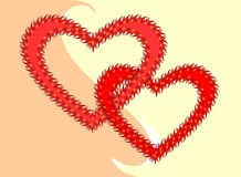 Hearts. Two bound hearts. Vector illustration Stock Photography