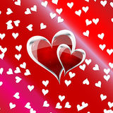Hearts. Vector art, is a beautiful red heart, with little shiny stars and a lot of small white hearts Stock Photos