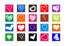 Hearts. Colorful hearts illustration on white background Royalty Free Stock Photography