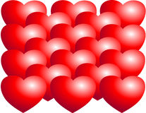 Hearts. Vivid red hearts create a bold statement of love, passion and devotion Stock Photo