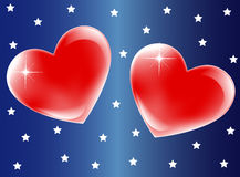 Hearts. Two hearts on blue background. Vector illustration Royalty Free Stock Photo