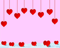 Hearts. On pink background, vector illustration. Suits well for a postcard or background vector illustration