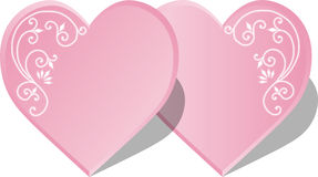Hearts. Couple pink hearts with an ornament on white background. Vector illustration Royalty Free Stock Image