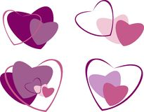 Hearts. Maroon heart vector  illustration, to day saint Valentin Stock Image