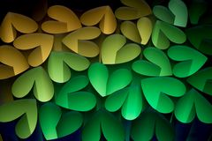 Hearts 8. Hearts in different colors on a black background, looks like foliage in autumn Royalty Free Stock Photo