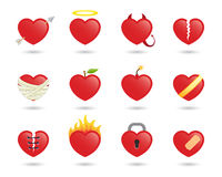 Hearts. Set of 12 heart icons, vector illustration Stock Photo