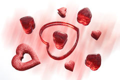 Hearts. Red hearts on the blur background Stock Images