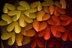 Hearts 9. Hearts in different colors on a black background Royalty Free Stock Images