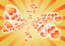 Hearts. Colorful hearts with background burst Royalty Free Stock Image