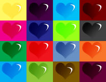 Hearts. Symbols on different color boxes Stock Photo