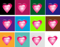 Hearts. Flying hearts symbols on different color boxes Stock Image