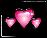 Hearts. Bevel hearts on black background Royalty Free Stock Photo