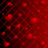 Hearts on a abstract background Stock Photography