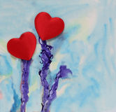 Hearts on an abstract background Stock Photo