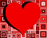 Hearts on abstract background  with squares. An heart on an abstract background in red tones. an idea to talk about love Royalty Free Stock Photo