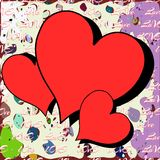 Hearts on abstract background Stock Photography