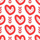 Hearts and abstract elements drawn by hand. Cute seamless pattern. Sketch, Doodle. Vector illustration vector illustration