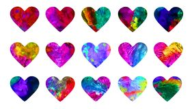 Hearts abstract grunge bright colors watercolor collection. Isolated on white set hand painted watercolor abstract bright colors paint splashes illustration Stock Images