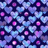 Hearts abstract grunge colorful splashes in blue palette and pink purple circles. Blue and purple palette hearts and circles, marble texture watercolor seamless Royalty Free Stock Photography