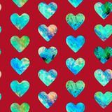 Hearts abstract grunge colorful splashes texture green blue palette. Watercolor seamless pattern design on dark red background royalty free illustration