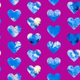 Hearts abstract grunge colorful splashes texture watercolor. Watercolor illustration in blue color palette seamless pattern design on purple background Stock Photography