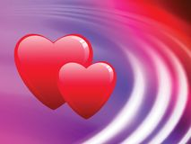 Hearts on Abstract Liquid Wave Background Royalty Free Stock Image