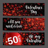 Hearts on abstract love background banner set. Be my valentine. Royalty Free Stock Image