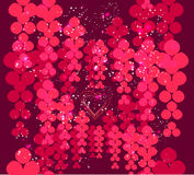 Hearts and abstract roses on dark red background. Background of hearts and abstract roses on dark red background with festive sparkles and flares Royalty Free Stock Images