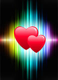 Hearts on Abstract Spectrum Background Stock Photography