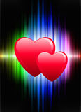 Hearts on Abstract Spectrum Background Royalty Free Stock Photo
