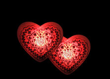 Hearts Aglow. A set of two glowing hearts filled with love and contentment Royalty Free Stock Photography