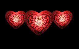 Hearts Aglow II. A set of three glowing hearts filled with love and contentment Royalty Free Stock Image