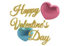 Free Hearts And Golden Happy Valentine`s Day Text.3D Illustration. Royalty Free Stock Photography - 126846417