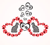 Hearts with animal`s footprints Stock Photo