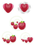 Hearts and apples collection Royalty Free Stock Images