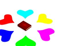 Hearts around book Stock Photos