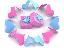 Hearts around gifts Royalty Free Stock Photos